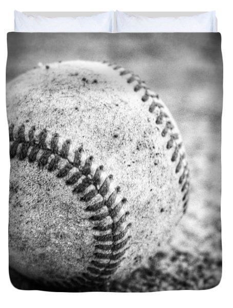 Baseball In Black And White Duvet Cover