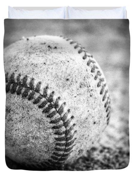 Baseball In Black And White Duvet Cover