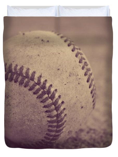 Baseball In Sepia Duvet Cover