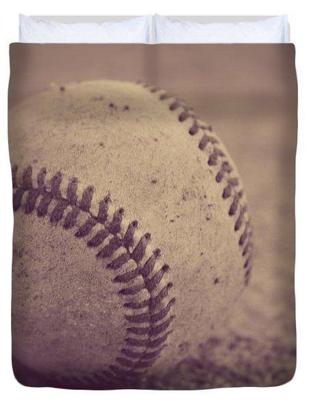 Baseball In Sepia Duvet Cover