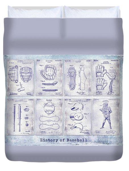 Baseball Patent History Blueprint Duvet Cover