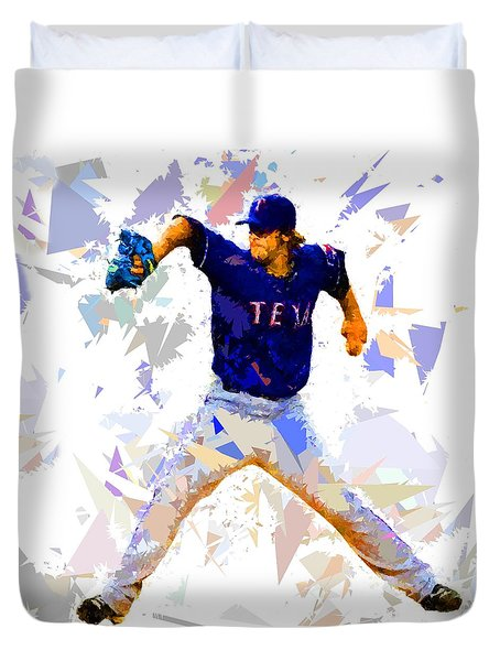 Duvet Cover featuring the painting Baseball Pitch by Movie Poster Prints