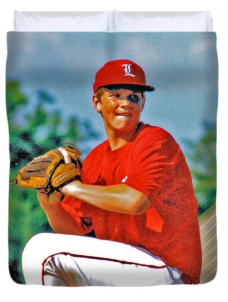 Baseball Pitcher Duvet Cover by Marilyn Holkham