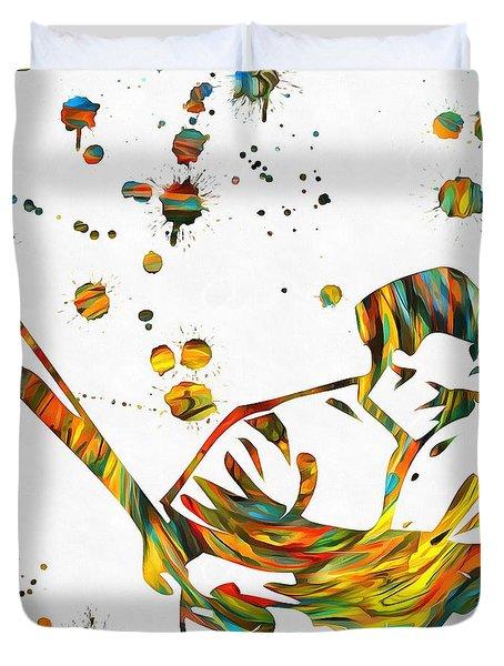 Baseball Player Paint Splatter Duvet Cover by Dan Sproul