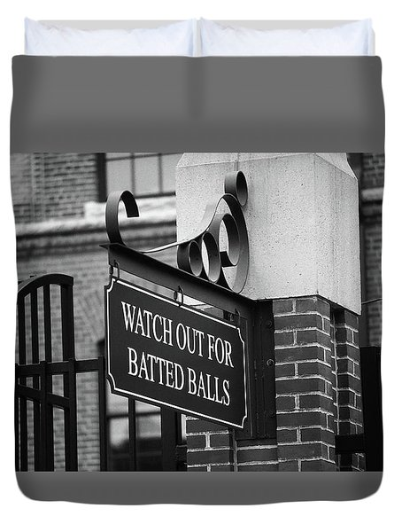 Baseball Warning Bw Duvet Cover