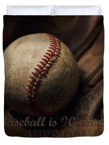 Baseball Yogi Berra Quote Duvet Cover