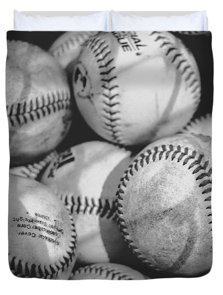 Baseballs In Black And White Duvet Cover