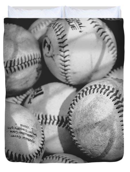 Baseballs In Black And White Duvet Cover