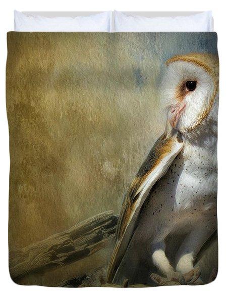Bashful Barn Owl Duvet Cover