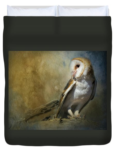 Bashful Barn Owl Duvet Cover