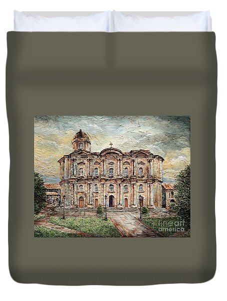 Duvet Cover featuring the painting Basilica De San Martin De Tours by Joey Agbayani