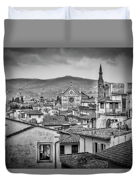 Duvet Cover featuring the photograph Basilica Di Santa Croce by Sonny Marcyan