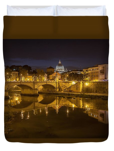 Basilica Over The River Tiber Duvet Cover by Ed Cilley