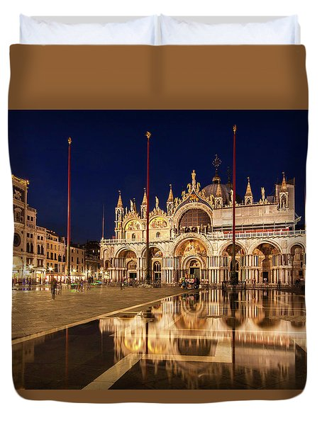 Duvet Cover featuring the photograph Basilica San Marco Reflections At Night - Venice, Italy by Barry O Carroll