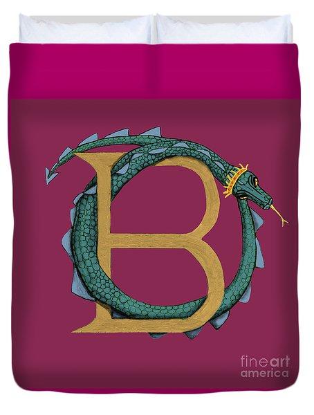 Duvet Cover featuring the digital art Basilisk Letter B by Donna Huntriss