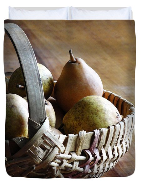 Basket And Pears Duvet Cover