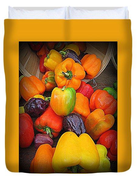 Basket Full O'peppers Duvet Cover