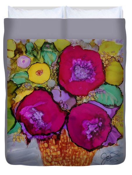 Basket Of Blooms Duvet Cover by Joanne Smoley