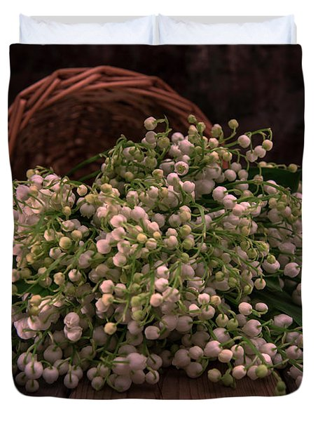 Duvet Cover featuring the photograph Basket Of Fresh Lily Of The Valley Flowers by Jaroslaw Blaminsky