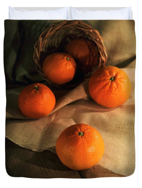 Duvet Cover featuring the photograph Basket Of Fresh Tangerines by Jaroslaw Blaminsky