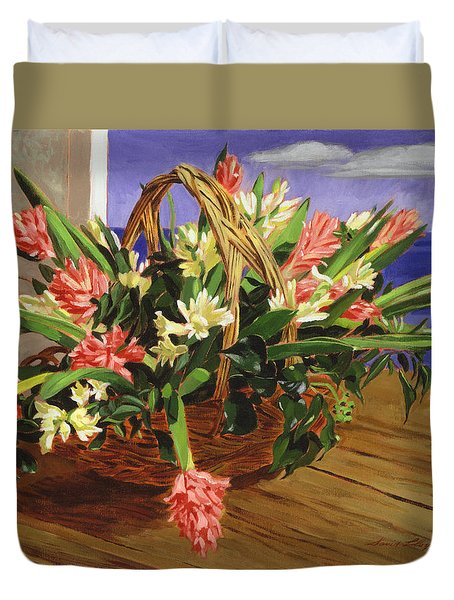 Basket Of Hyacinths Duvet Cover