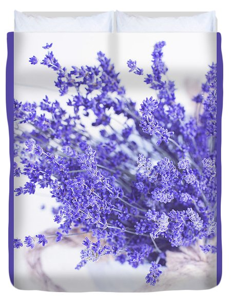 Basket Of Lavender Duvet Cover