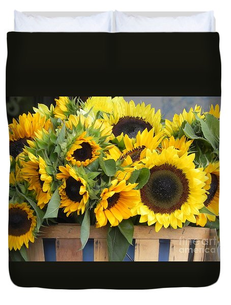 Basket Of Sunflowers Duvet Cover