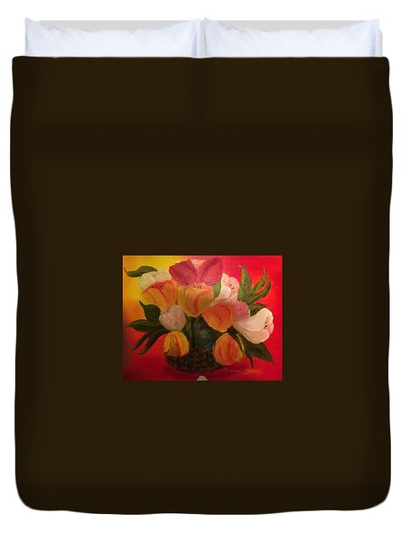Basket Of Tulips Duvet Cover