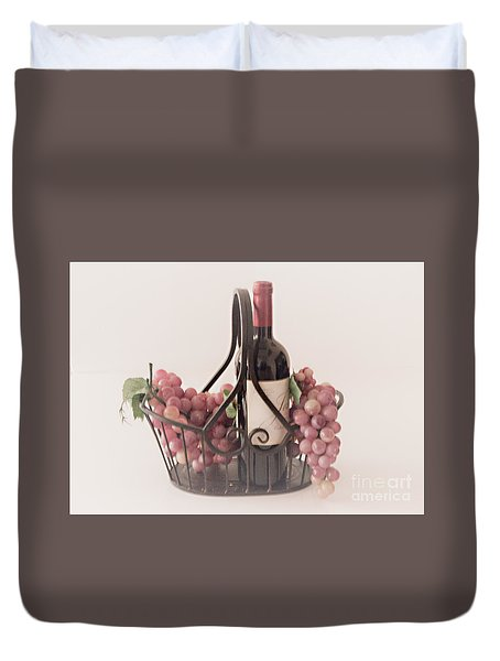 Basket Of Wine And Grapes Duvet Cover