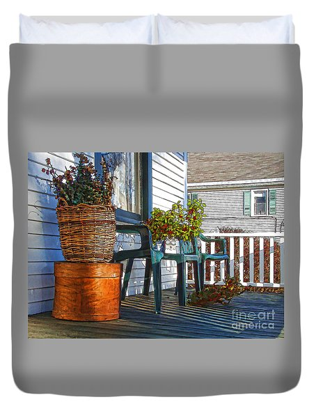 Basket Porch Duvet Cover by Betsy Zimmerli