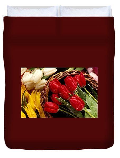 Basket With Tulips Duvet Cover by Garry Gay