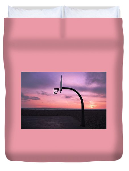 Basketball Court At Sunset Duvet Cover