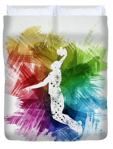 Basketball Player Art 03 Duvet Cover by Aged Pixel