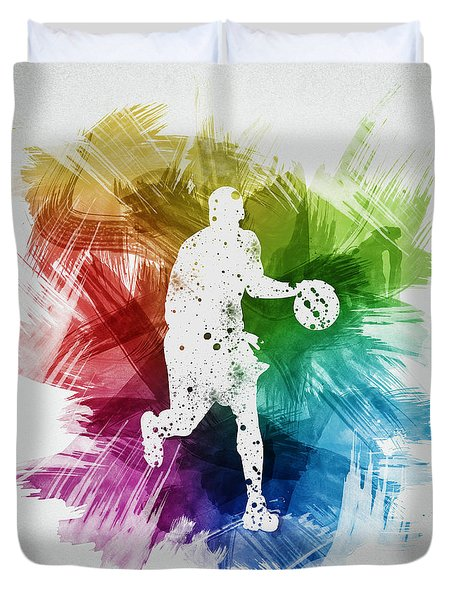 Basketball Player Art 16 Duvet Cover by Aged Pixel