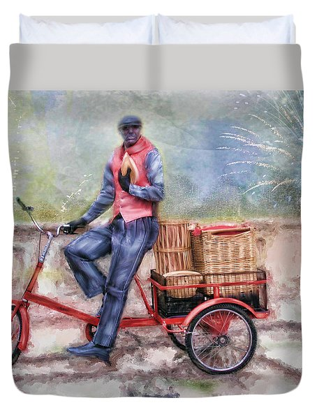 Duvet Cover featuring the photograph Baskets Of Bread For Sale by Mary Timman