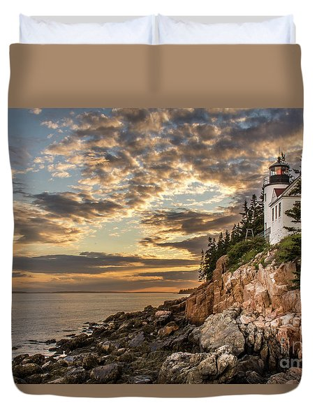 Bass Harbor Head Lighthouse Sunset Duvet Cover