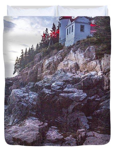 Bass Harbor Light Reflection Duvet Cover