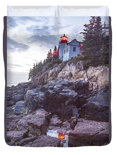 Bass Harbor Light Reflection Duvet Cover
