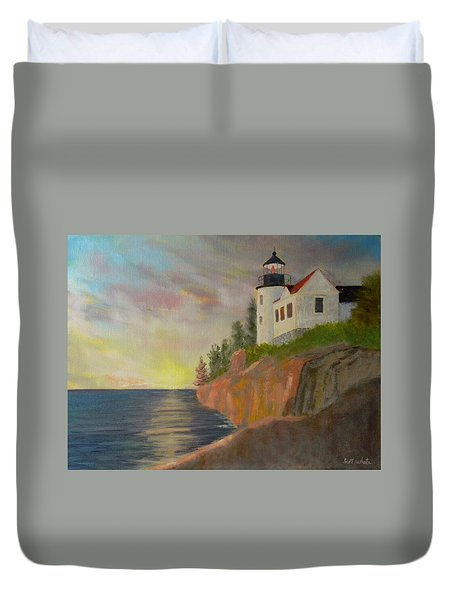 Bass Harbor Light Duvet Cover
