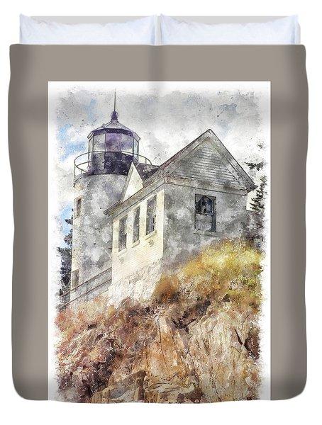 Bass Harbor Light Wc Duvet Cover