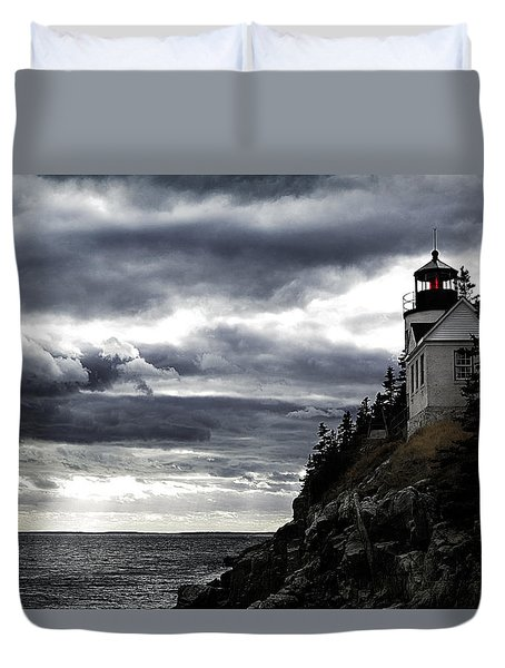 Duvet Cover featuring the photograph Bass Harbor Lighthouse In Acadia Np by Jeff Folger