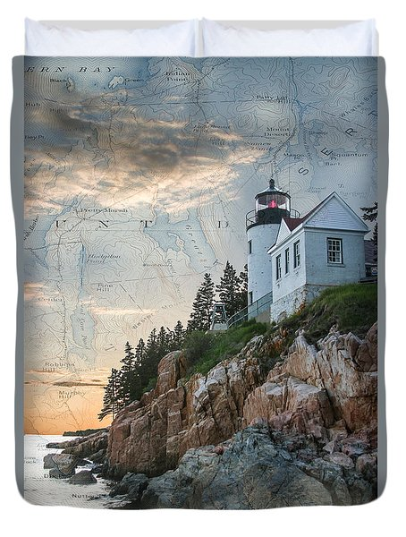 Duvet Cover featuring the digital art Bass Harbor Lighthouse On Maine Nautical Chart by Jeff Folger