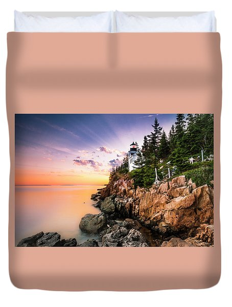 Duvet Cover featuring the photograph Bass Harbor Lighthouse Sunset by Ranjay Mitra