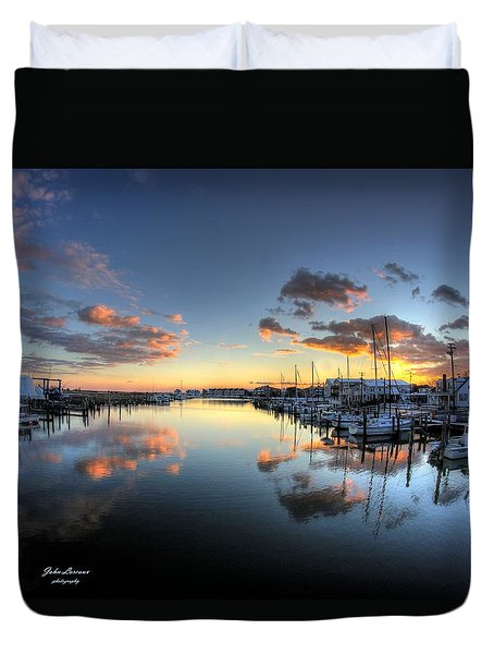 Bass Harbor Sunset Duvet Cover