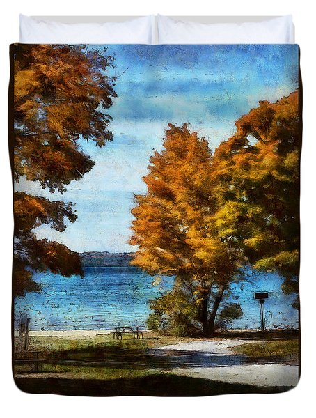 Bass Lake October Duvet Cover