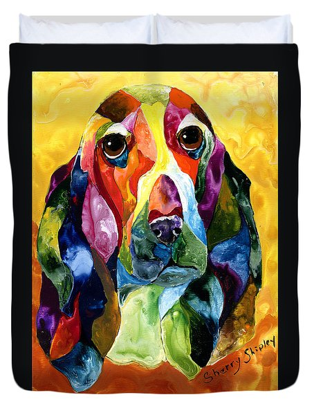Basset Hound Blues Duvet Cover
