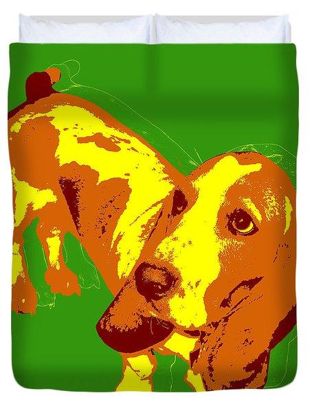 Duvet Cover featuring the digital art Basset Hound Pop Art by Jean luc Comperat