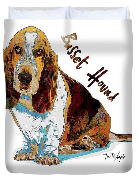 Basset Hound Pop Art Duvet Cover