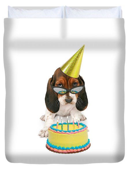 Basset Hound Puppy Wearing Sunglasses  Duvet Cover
