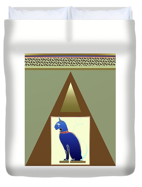Duvet Cover featuring the mixed media Bastet  by Larry Talley